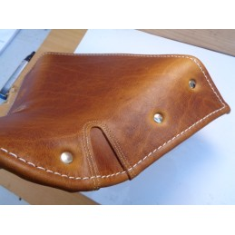 BROWN LEATHER SADDLE COVER...